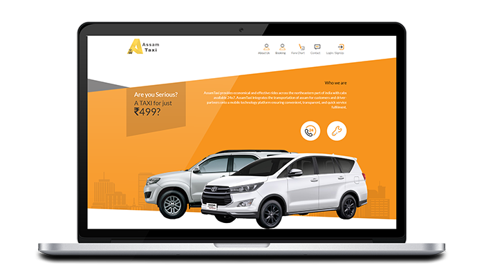 Assam Taxi website design, development by UJUDEBUG