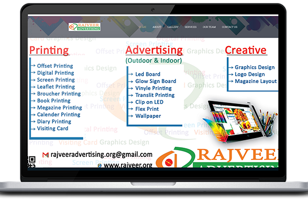 rajveer advertising website design, development by UJUDEBUG