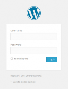 wordpress admin login form